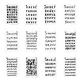 Nsiwem Plantilla Letras 12 Hojas Journal Plantillas de Dibujo DIY Plantilla Stencil Plantilla de Plástico con Diseño de Letras y Números Plantilla Para Pintura De áLbum De Recortes