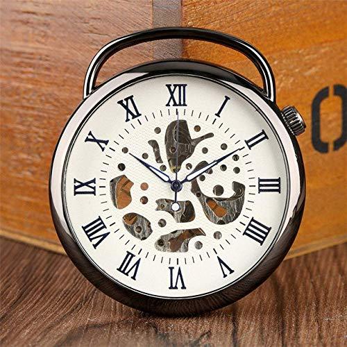 LLGBD Accessories/Reloj de Bolsillo Cara Abierta Números Romanos Relojes Mecánico Reloj de Bolsillo a Mano Steampunge Cool Pocket Reloj Colgante para Hombres Mujeres con Cadena Fob (Color : Black)