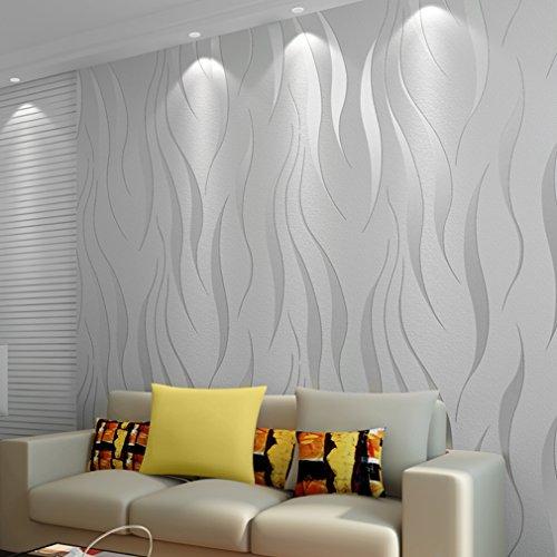 Papel pintado 3D, rollos aterciopelados de 10 m para decoración de pared de dormitorio y hogar, no tejido, papel pintado minimalista de lujo, color plateado/gris