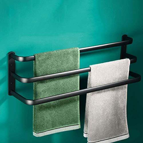 YVX Toallero para baño montado en la Pared, Espacio de dislocación Multicapa Toallero de Aluminio, Soportes para Toallas para baño Cocina de Hotel Negro Triple Capa 50CM