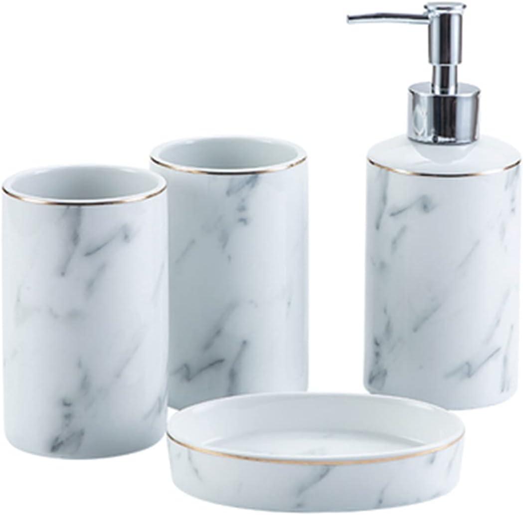 YHshop Soap New Free favorite Shipping Dispenser White Marble Pattern Creative Modern 4-Pie