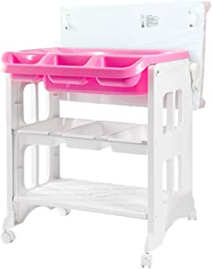 ZGYQGOO Crib Diaper Table Multifunctional Baby Changing Table Bathtub Shower Stand Child Care Station Baby Massage Table