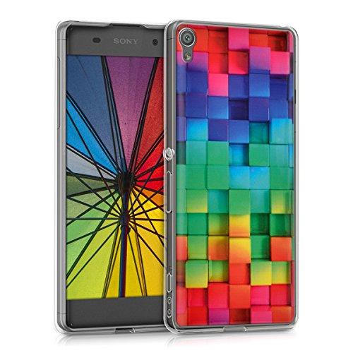 kwmobile Funda Compatible con Sony Xperia XA - Carcasa de TPU y Cubos Colores en Multicolor/Verde/Azul