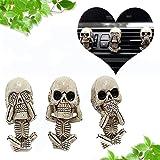 Skull Mini TrioHear/See/Speak No Evil Spooky Halloween Decor/Curio 3 Skulls Evil Skull Trio Statue a Set of 3pcs -with Air Freshener, Gothic Ornaments Resin Skeleton Figurine Decor