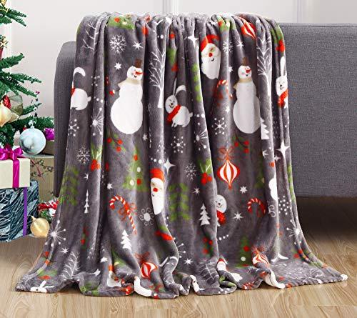 Elegant Comfort Velvet Touch Ultra Plush Christmas Holiday Printed Fleece Throw/Blanket - 50' x 60inch, (Santa)