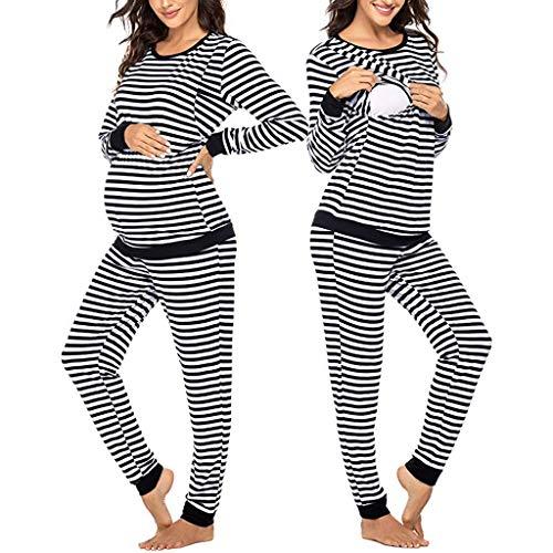 carol -1 Stillpyjama-Umstandspyjama - Gestreifter Schlafanzug für Damen - Nachtwäsche für Schwangerschaft-Stillzeit - Weiches Pyjama-Set mit Stillfunktion - Lang-Langarm - Zweiteilige Nachtwäsche