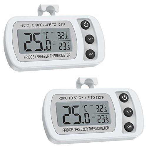 ORIA Kühlschrank Thermometer, Digitale Gefrierschrank Thermometer, 2 Stk Wasserdichte Refrigerator Thermometer mit Max/Min, Haken Gut Lesbarem LCD-Anzeige, Perfekt für Hause, Bars, Cafés