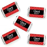 Big Dot of Happiness Red Grad - Best is Yet to Come - Mini Candy Bar Wrapper Stickers - 2021 Red Graduation Party Small Favors - 40 Count