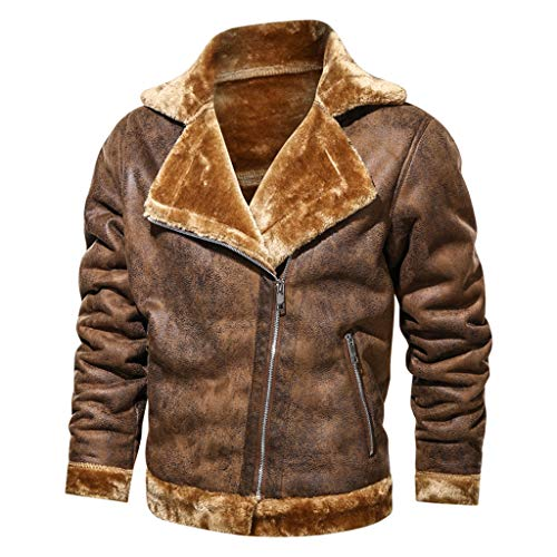 Men's Winter Cargo Jacket Vintage Turn-Down Collar Solid Imitation Leather Fleece Lined Thicken Military Coat Tops Shirt Blouse