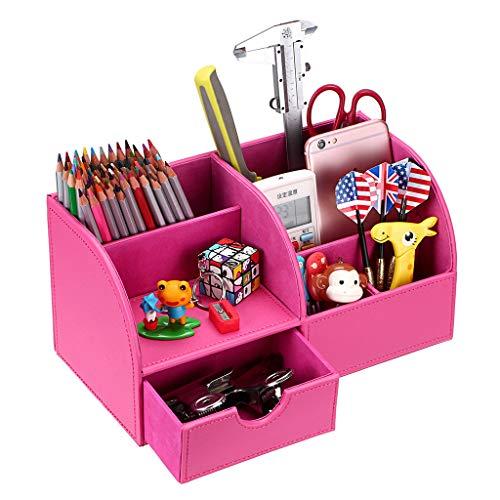 BTSKY Organizador de Escritorio de Piel Sintética Multifuncional Caja de Escribanía Mesa con 7 Compartimientos para Oficina Hogar , Color Rosa