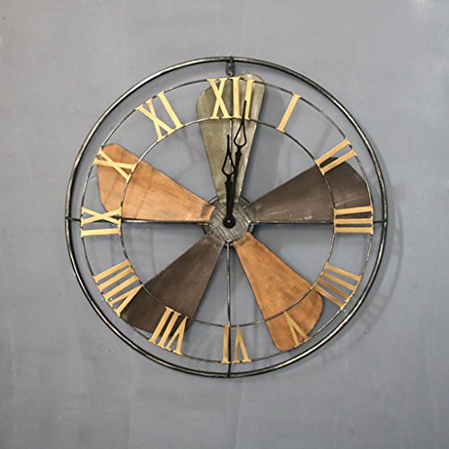 JLRQY Orologi Da Parete Iron Art Vintage Brown Fan Clock Decorazione Della Superficie A Parete Orologio Grande Per Bar Coffee Shop,63Cm