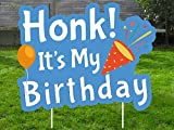 Honk! It's My Birthday Yard Sign with Stakes Waterproof Lawn Decoration for Happy Party Parade Large Colorful Single Sided Honk Signs for Outdoor (White Letters on Blue Background)