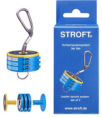 Stroft - Vorfachspulensystem mit 3 Cutterringen, 3 Sicherungsringen, Spulenhalter und Short Strap + 15 Etiketten
