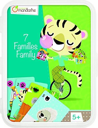 Avenue Mandarine CO110O - Un jeu de 42 cartes 7 Familles, Animaux en voie de disparition en boite plastique refermable