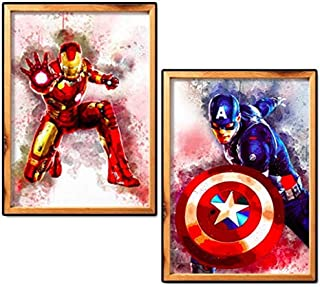 DIY 5D Diamond Painting Kits for Adults Full Drill, Diamond Arts Craft for Home Wall Decor, Paintings Pictures Art Kits Captain America and Iron Man 30x40centimeter