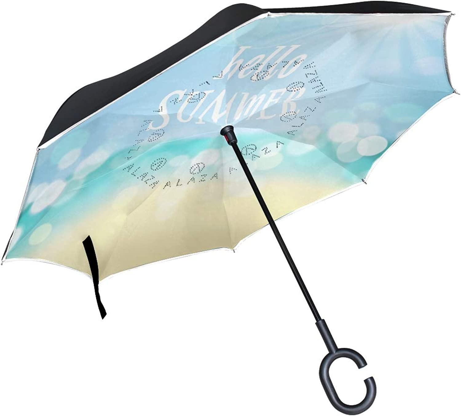 Ingreened Umbrella Double Layer Reverse Umbrella Waterproof Windproof UV Predection Straight Umbrella with CShaped Handle Ocean Sunset Digital Printing for Car Rain Outdoor Use