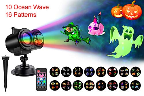 Indoor/Outdoor LED Projector Lights with 10 Colors Ocean Wave and 16...