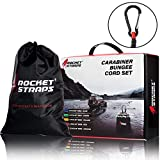 ROCKET STRAPS | (24PC) Carabiner Bungee Cords with Hooks | Bungee Cord Assortment Includes | Tie Downs | Ball Bungees | Carrying Bag | (4) Tarp Clips | 50/50 Latex & Rubber Bungie Cord Straps
