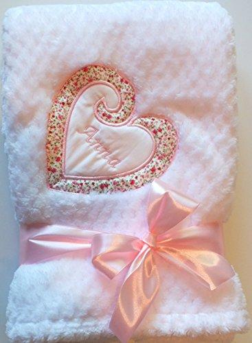 Kuschlige-romantische Mädchen+Jungen Babydecke Decke mit Herz und Namen bestickt 75 x 100 cm