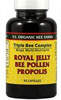 Y.S. Organic Bee Farms Triple Bee Complex - Royal Jelly Bee Pollen Propolis with Ginseng 90 Capsules (#734)