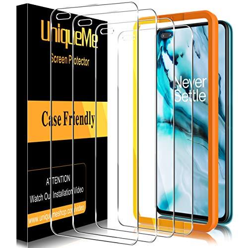 UniqueMe [4-pack] härdat glas kompatibel med Oneplus Nord, [bubbelfri] [9H hårdhet] reptålig skärmskydd HD klar film för Oneplus Nord