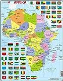 Larsen K13 Mapa político de África, edición en Alemán, Puzzle de Marco con 70 Piezas