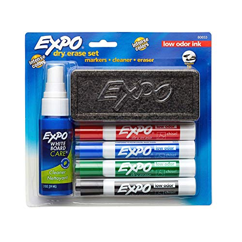 Low Odor Dry Erase Marker Set with White Board Eraser and Cleaner | Chisel Tip Dry Erase Markers | Assorted Colors, 6-Piece Set with Whiteboard Cleaner - New