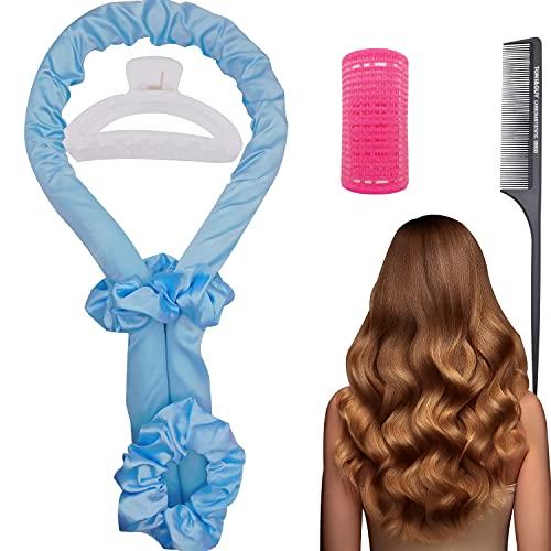 Rizador de pelo sin calor para pelo largo, sin calor, juego de cinta de seda con espuma suave para crear un peinado natural que puede dormir por la noche, 1 juego (azul)