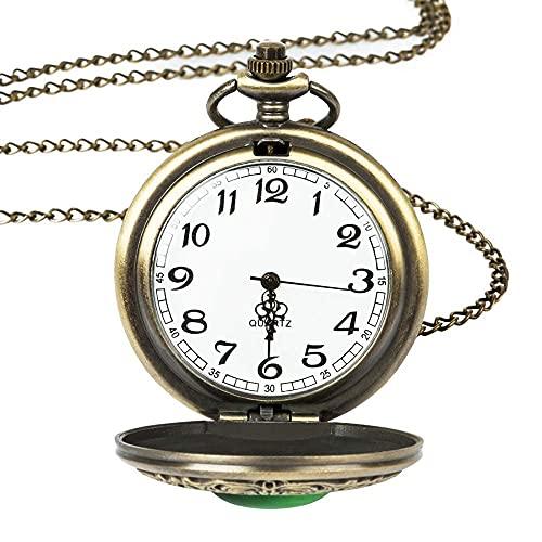 SHKUU Reloj Bolsillo Cuarzo, Collar Verde Piedra Esmeralda Vintage Grande, joyería Mujer, Ojo Retro Moda gótica