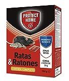 PROTECT HOME Raticida en Cereal de Alta eficacia y Poder de atracción para Zonas secas. Ratas y Ratones, 150gr, Rojo, 150 G