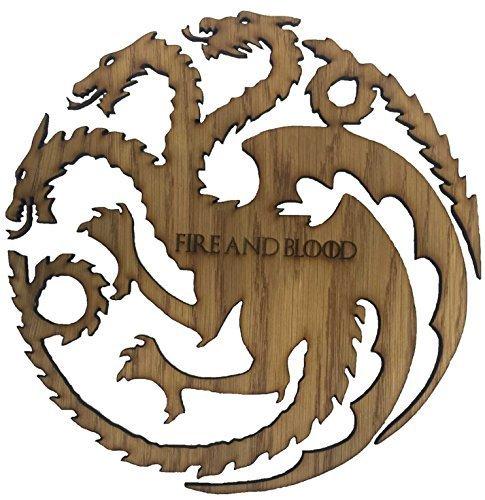 Derwent Laser Craft Juego de Tronos casa Targaryen Fuego y Sangre Madera de Tres Cabezas de dragón Sigil (23 cm x 23 centímetros)