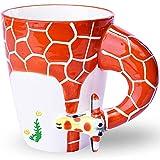 400ML3D純粋な手描きのかわいい動物セラミックコーヒーマグマークウォーターカップ(キリン)