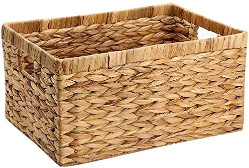 Hiacinto de agua Cesta de almacenamiento rectangular con mango - Papelera de cesta del organizador del armario tejido natural - para el cubo de los muebles estanterías en la oficina de la entrada