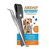 ARDAP Zeckenhaken mit Pinzette - 2in1 Zeckenzange aus Edelstahl im Leder-Etui - Einfache & effektive Zeckenentfernung - Premium Zeckenschutz für Hunde, Katze & Menschen - Professionelle Pflege