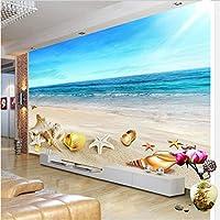 Iusasdz モダンミニマリスト海辺の風景シェル3D写真壁画壁紙リビングルームダイニングルームロマンチックな背景壁3D家の装飾-250X175Cm