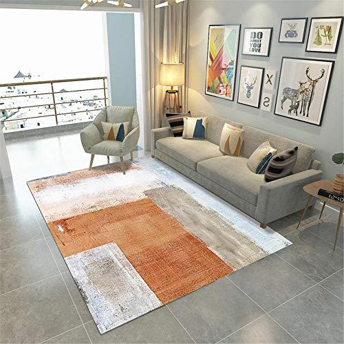 RUGMYW No Se Desvanece Alfombra Infantil Patrón Abstracto Beige marrón Azul Naranja Alfombra habitación Matrimonio 80X160cm