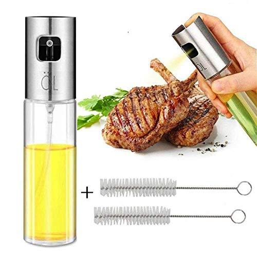 Oliefles Hot New Oil Spuitbus for het koken, Olijfolie Spuitbus, glazen fles azijn Fles Olie Dispenser Met Borstel lili