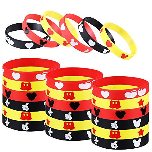 Mickey Mouse Party Favor, 24Pcs Mickey Themed Party Silicone Rubber Bracelet Wristbands Ideal for Mickey Mouse Birthday Party Supplies