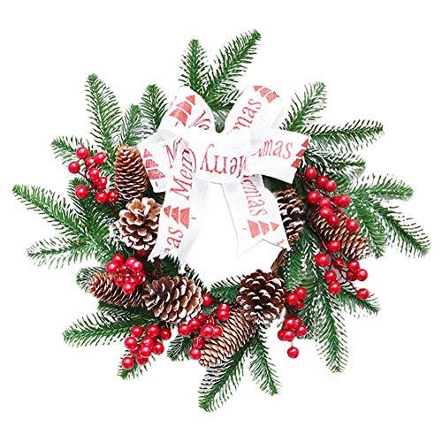 Sunneey - Guirnalda decorativa para puerta de Navidad, adornado con ratán y piñas de abeto, 40 cm