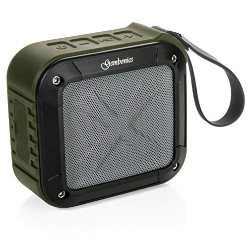 Wireless Bluetooth 4.1 Speaker by Gembonics, Best Shockproof Waterproof Shower Speakers with 10 Hour Rechargeable Battery Life, Powerful Audio Driver, Pairs with All Bluetooth Devices (Green)