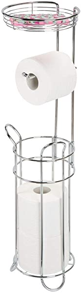 MDesign Freestanding Metal Wire Toilet Paper Roll Dispenser And Holder Stand For Bathroom Storage Organization Top Round Storage Tray Shelf For Cell Phone Book Spray Holds 4 Mega Rolls Chrome