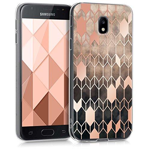 kwmobile Hülle kompatibel mit Samsung Galaxy J3 (2017) DUOS - Handyhülle - Handy Hülle Glory Hellbraun Rosegold