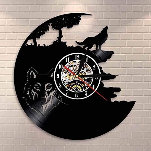 Reloj de Pared Wolf Call Moon, Reloj de Pared con Registro de Vinilo de Lobo Animal Salvaje de Bosque, decoración de Cueva para Hombre, Regalo de Hombre Lobo