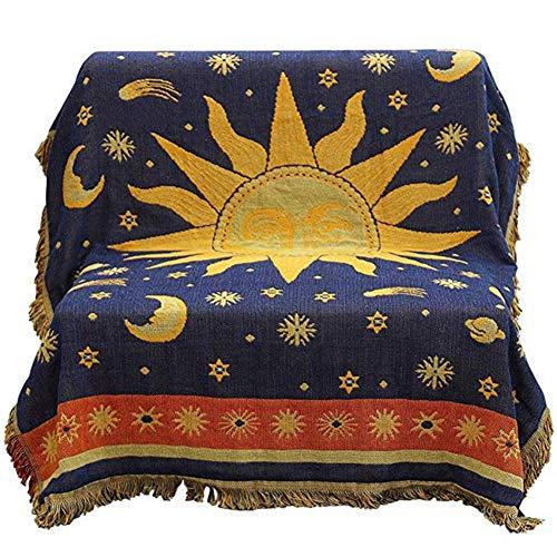 KIOPS Uberwurfdecke Sofa, Wendbare Sonne & Mond Tagesdecke für Stuhl/Bett/Couch, Böhmische Decke mit Quasten, 51.18 x 70.86