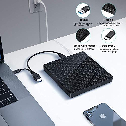 Externes DVD CD Laufwerk Typ C und USB 3.0 CD DVD RW Lesegerät mit SD TF Kartenleser und USB-Stick Anschluss tragbarer DVD CD RW ROM Brenner für Laptop PC Windows 7/8/10 / Vista/XP/Mac OS (Black)