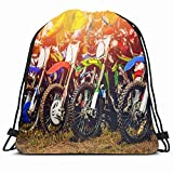 DHNKW Drawstring Backpack String Bag 14x16 Action Dirtbike Racers on Motorcycles Start Closeup Sports Man Recreation Supercross Active Air Bicycle Bike Sport Gym Sackpack Hiking Yoga Travel Beach