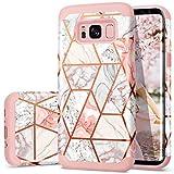 Samsung Galaxy S8 Plus Case,S8 Plus Case Marble,Fingic Rose Gold Glitter Marble Design Hard PC Soft Silicone...