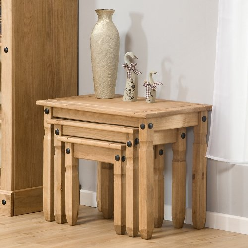 Nest of Tables Aztec Light Corona Pine Set of 3 Occasional Coffee Side Tables