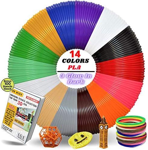 3D Pen Printer Filament 280 Feet 14 Vivid Colors Premium PLA Each Color 20 Feet Bonus 100 Stencils product image