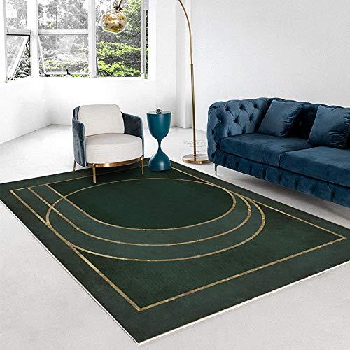 Oukeep Homestay-Stil Grüner Teppich Moderne Minimalistische Licht Luxus Abstrakte Schlafzimmer Wohnzimmer Couchtisch Matte Dicke rutschfeste Goldene Geometrische Türmatte